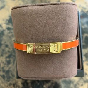 Michael Kors Gold/Orange Heritage Hinch Bangle.